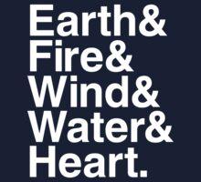 Earth&Fire&Wind&Water&Heart (White) Baby Tee