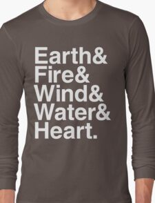 Earth&Fire&Wind&Water&Heart (White) Long Sleeve T-Shirt