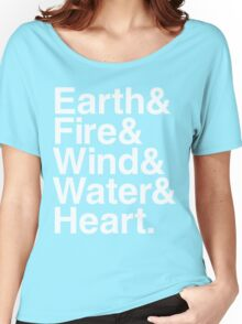Earth&Fire&Wind&Water&Heart (White) Women's Relaxed Fit T-Shirt
