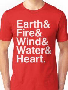 Earth&Fire&Wind&Water&Heart (White) Unisex T-Shirt