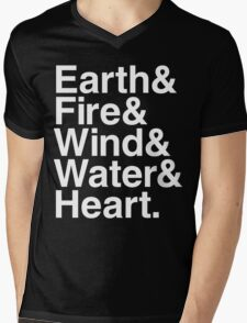 Earth&Fire&Wind&Water&Heart (White) Mens V-Neck T-Shirt