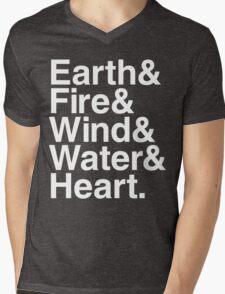 Earth&Fire&Wind&Water&Heart (White) Mens V-Neck T-Shirt