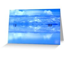 People in the distance floating on turquoise Salar de Uyuni, Bolivia Greeting Card