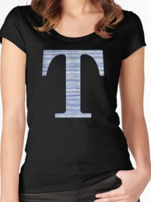 Letter T Blue Watercolor Stripes Monogram Initial Women's Fitted Scoop T-Shirt