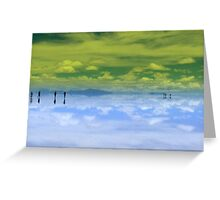 People gliding on Yellow & Blue Salar de Uyuni, Bolivia Greeting Card