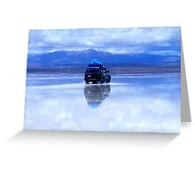 Reflection of jeep on Salar de Uyuni, Bolivia Greeting Card