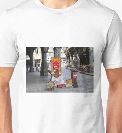 Medieval busker, Dinan, Brittany, France Unisex T-Shirt