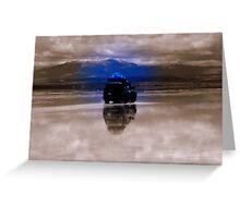 Sepia & Blue jeep reflection on Salar de Uyuni, Bolivia Greeting Card