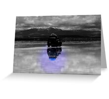 Jeep reflection on the majestic Salar de Uyuni, Bolivia Greeting Card