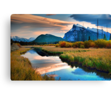 Evening Light and Autumn in Banff Canvas Print