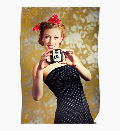 1940's woman using a camera Poster
