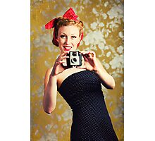 1940's woman using a camera Photographic Print