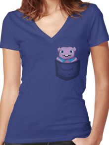 CAN I COME INTO THE OUT NOW? Women's Fitted V-Neck T-Shirt