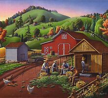 Folk Art Americana - Farmers Shucking Harvesting Corn Fall Farm Landscape - Corn Crib by Walt Curlee