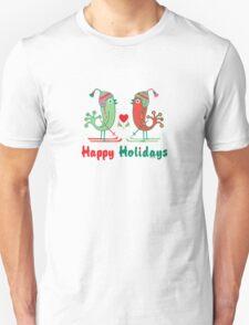 Ski Birds Happy Holidays Unisex T-Shirt