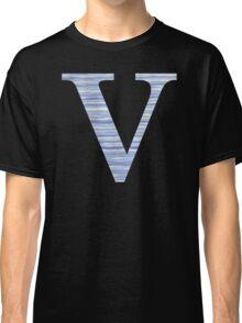 Letter V Blue Watercolor Stripes Monogram Initial Classic T-Shirt