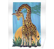 Giraffe Mama and Baby Poster