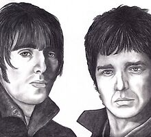 Liam and Noel Gallagher celebrity portrait by Margaret Sanderson