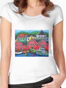 Colours of Lunenburg, Nova Scotia Women's Fitted Scoop T-Shirt