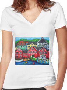 Colours of Lunenburg, Nova Scotia Women's Fitted V-Neck T-Shirt