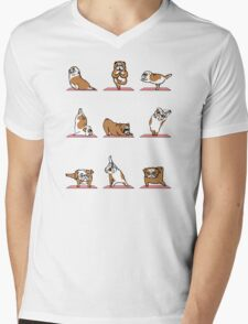 English Bulldog Yoga Mens V-Neck T-Shirt