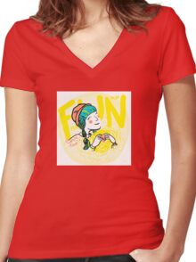 fun-love-sun Women's Fitted V-Neck T-Shirt