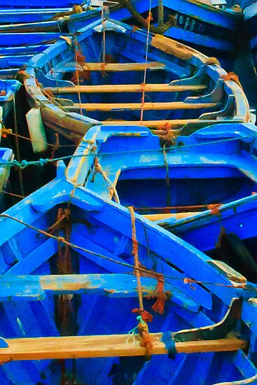 Blue Boats I - Essaouira, Morocco. by Damienne Bingham
