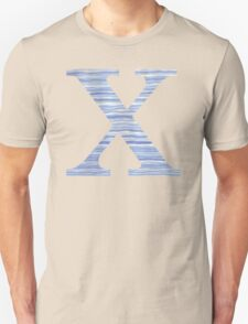 Letter X Blue Watercolor Stripes Monogram Initial Unisex T-Shirt