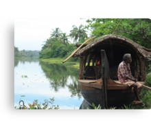 Postcards from Kerala: A boat on the backwaters Canvas Print
