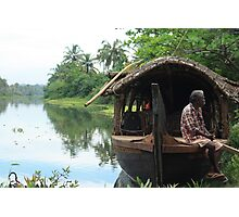 Postcards from Kerala: A boat on the backwaters Photographic Print