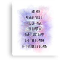 Doctor Who Eleven Optimist Quote Canvas Print