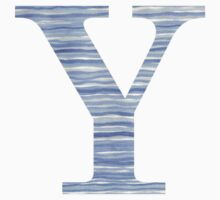 Letter Y Blue Watercolor Stripes Monogram Initial Baby Tee