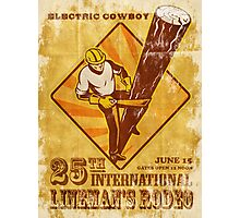 power lineman electrician vintage poster Photographic Print
