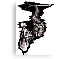Rebirth surreal black and white pen ink drawing Canvas Print