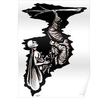 Rebirth surreal black and white pen ink drawing Poster