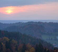 View across Gorenjska at sunset by Ian Middleton