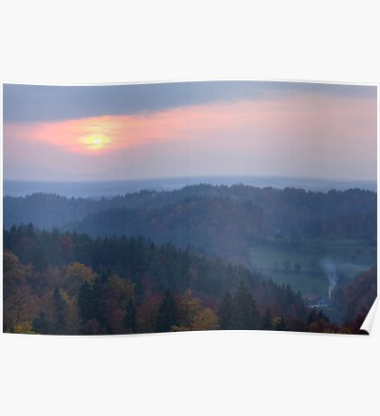 View across Gorenjska at sunset Poster