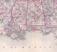 Vintage Map of The Southern United States (1868) Sticker