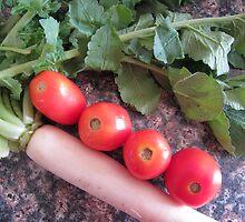 Radish and Tomatoes by Bindu-Juneja