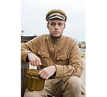 Soldier with boiler in retro style picture Photographic Print