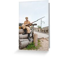 Retro style picture with soldier sitting on the bundles Greeting Card