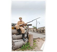 Retro style picture with soldier sitting on the bundles Poster
