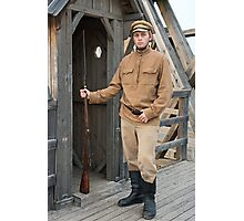 Retro style picture with soldier at sentry. Photographic Print