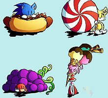 Sonic team + favorite foods by Darth-Molly