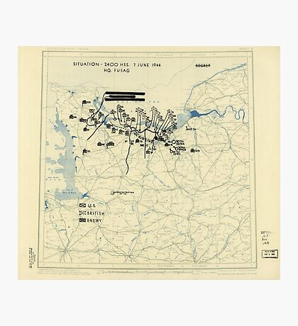 World War II Twelfth Army Group Situation Map June 7 1944 Photographic Print