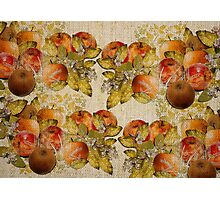 French Cretonne with Apples and Lime Trees Pattern Photographic Print
