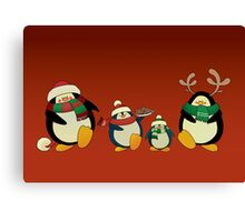 Penguin family greeting card Canvas Print
