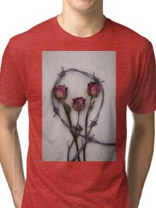three roses and barbed wire Tri-blend T-Shirt