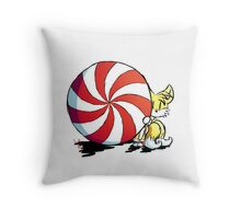 Tails + mint candy Throw Pillow