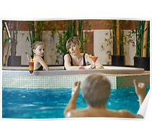 Family in swimming-pool Poster
